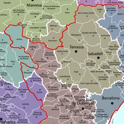 Mapa de fins on es pot anar des de Sant Cugat