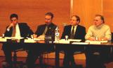 Lluís Recoder, a la esquerra de la imatge, en el consell d'alcaldes celebrat a la seu del Consell Comarcal del Vallès Occidental