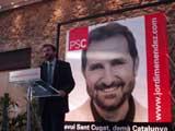 El candidat socialista, durant la seva presentació