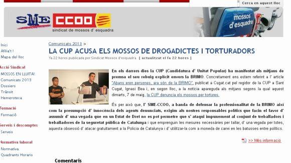 El sindicat SME- CCOO surt en defensa del cos dels Mossos d'Esquadra