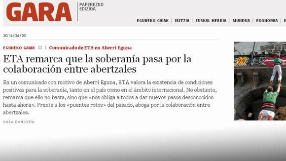 'Gara' il·lustra la notícia d'un comunicat d'ETA amb una foto dels Gausacs