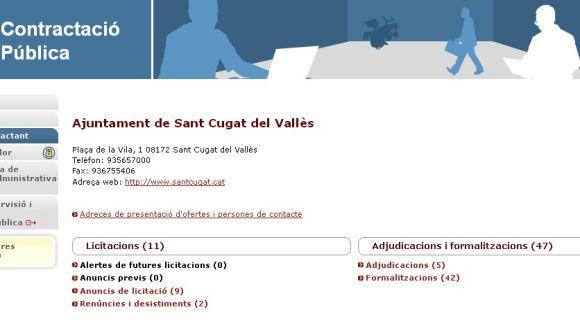 Imatge de la Plataforma de Contractació Pública de l'Ajuntament