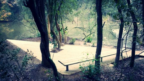 El pantà de Can Borrell, recuperat amb la instal·lació d'una plataforma