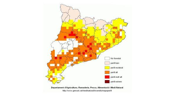 Mapa de risc d'incendi d'aquest divendres / Foto: Gencat.cat