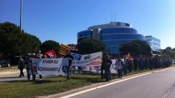Una protesta sindical davant la delegació d'HP a Sant Cugat / Foto: Facebook CCOO HP
