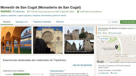 TripAdvisor entrega a Sant Cugat 23 certificats d'excel·lència