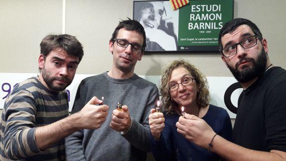 D'esquerra a dreta, David Vila, Daniel Ruiz-Trillo, Cristina Company i Un tal Pere