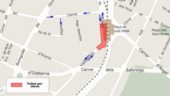 Talls de trànsit al passeig Valldoreix i al carrer de l'Andana per obres al clavegueram
