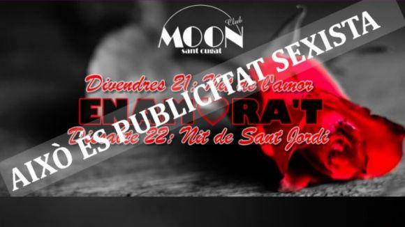 Hora Bruixa titlla de 'masclista' la publicitat de la discoteca Moon per la festa de Sant Jordi