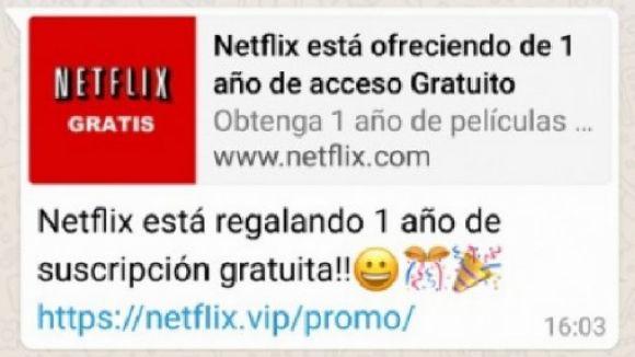Alerta per una estafa a Whatsapp que ofereix un any de subscripció gratuïta a Netflix a canvi de dades