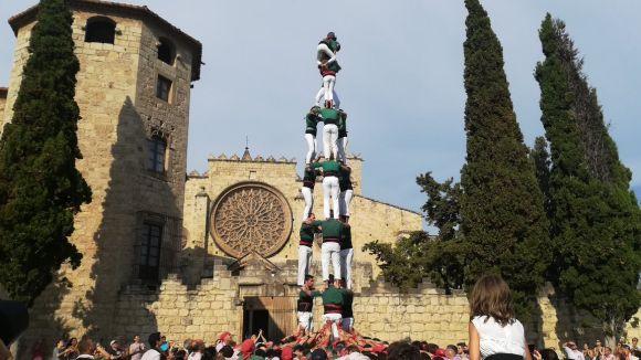 La Diada en honor a Sant Cugat deixa a plaça castells de 8 i de 9