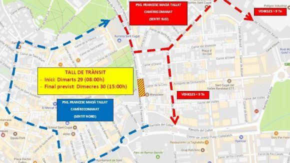 Afectacions al trànsit avui i demà a la cruïlla de Francesc Macià amb el carrer de la Creu