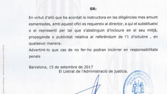 Fiscalia adverteix el grup Totmedia d'abstenir-se de publicar publicitat sobre l'1-O