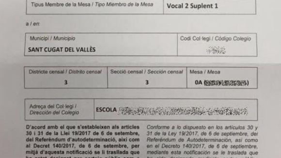 La Guàrdia Civil confisca notificacions de les meses de l'1-O de Sant Cugat