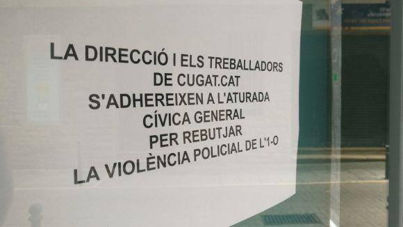 Els treballadors i la direcció de Cugat.cat s'adhereixen a l'aturada cívica del 3-O