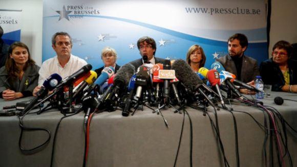 Puigdemont i els consellers cessats a Brussel·les / Foto: ACN