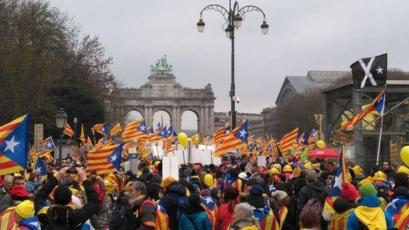 Moment de l'inici de la manifestació a Brussel·les