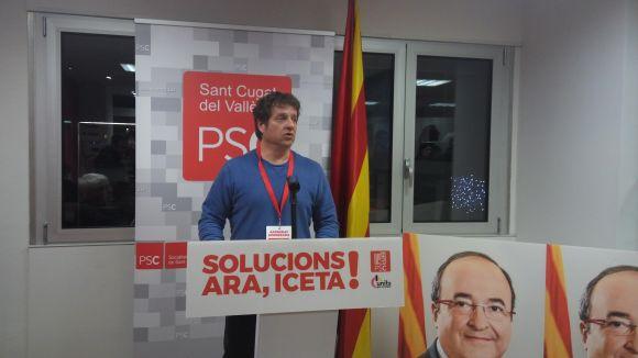 Soler fent una valoració dels resultats a la seu del partit