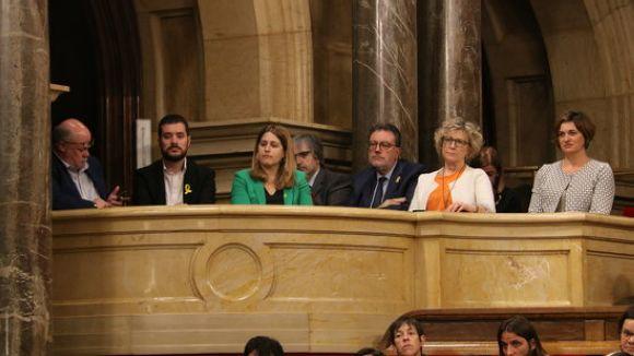 Picornell, segon per l'esquerra, aquest matí al Parlament / Foto: ACN