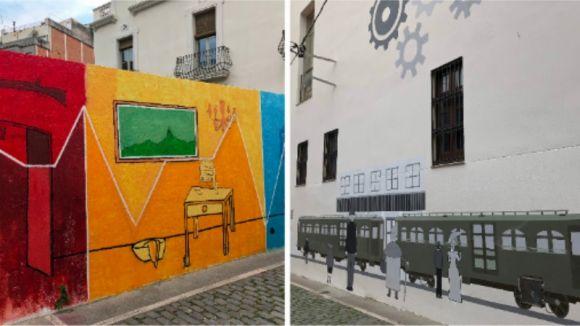 El 'Mural de vida', a l'esquerra i el 'Mural del Ferrocarril', a la dreta