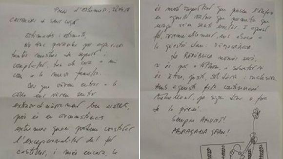 Romeva agraeix amb una carta des de la presó el suport dels Gausacs