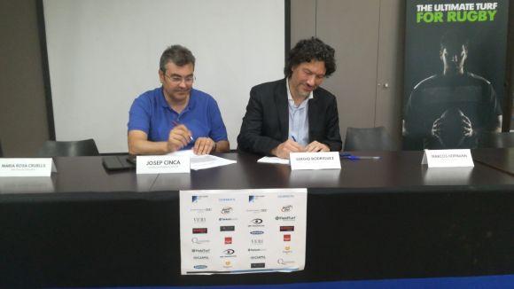 El conseller delegat de FieldTurd, Josep Cinca, i el conseller delegat de Fitnessalud, Sergio Rodríguez