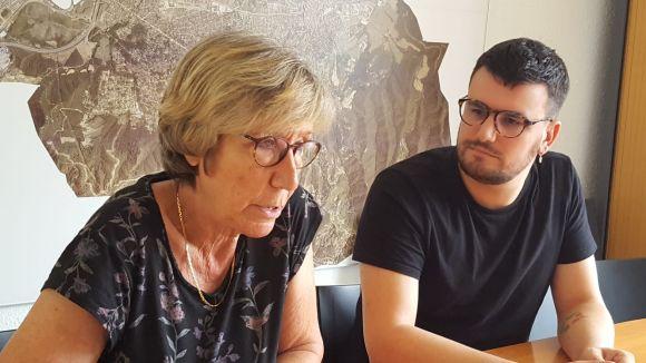 Roser Casamitjana i Ramon Gutiérrez aquest dijous a l'Espai Comú / Foto: Twitter ICV Sant Cugat