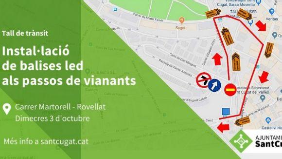 Talls de trànsit entre el carrer Martorell i Rovellat per la instal·lació de balises led