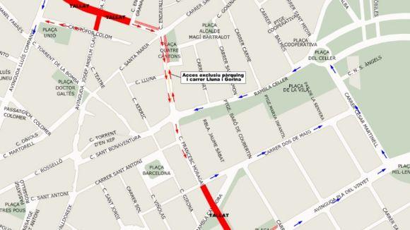 Tall de trànsit aquest diumenge al carrer de Francesc Moragas i a l'avinguda de Rius i Taulet