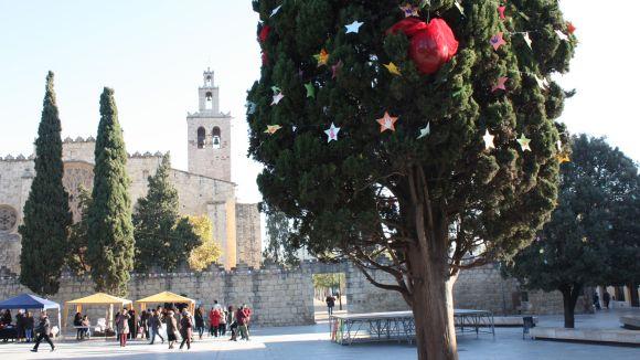 El xiprer de la plaça d'Octavià, guarnit un Nadal / Foto: Premsa Ajuntament