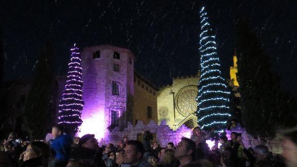 Dos dels arbres de Nadal que hi havia l'any passat a la plaça d'Octavià / Foto: Cugat Mèdia