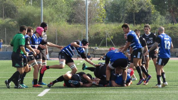 Imatge del partit entre el Rugby Sant Cugat i el BUC de la primera volta / Foto: Cugat.ca