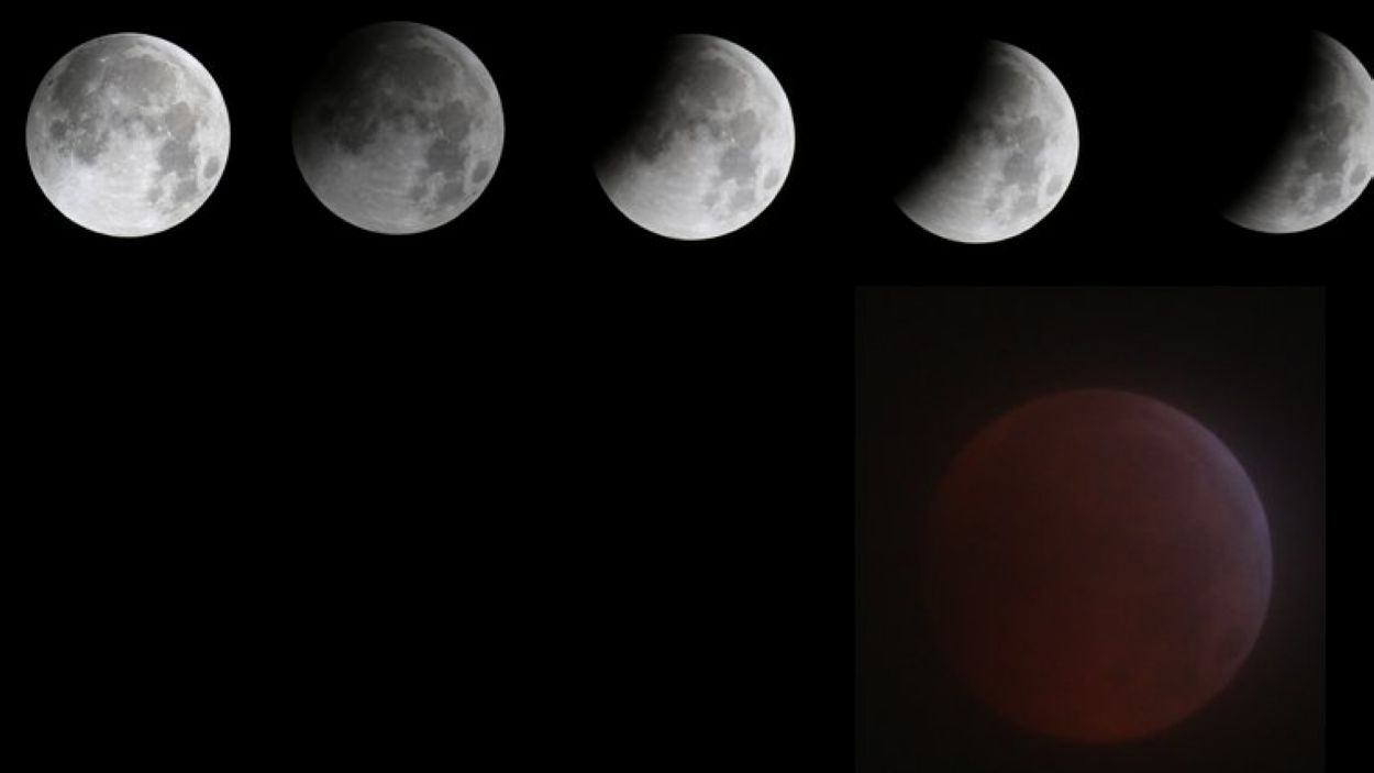 Sant Cugat ha gaudit aquesta matinada d'una superlluna amb eclipsi lunar total