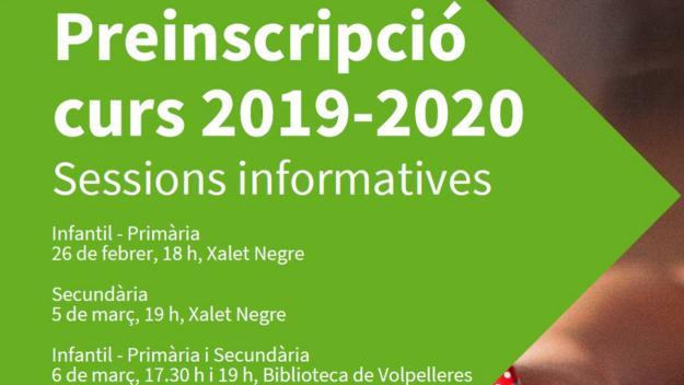 Sessions informatives preinscripció curs 2019-20 (secundària)