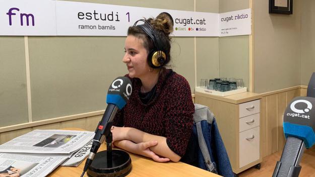 Júlia de Paz en la seva visita als estudis de Cugat.cat