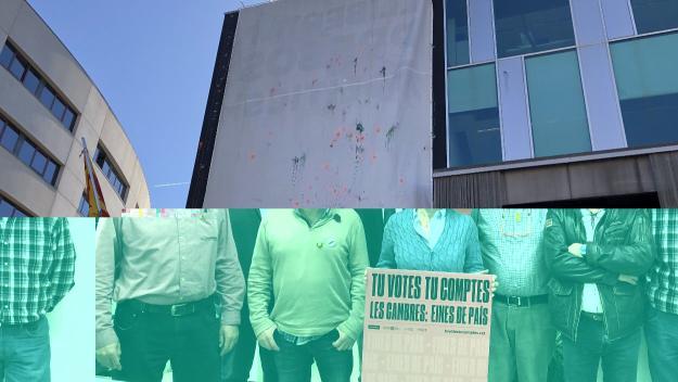L'Ajuntament de Sant Cugat gira la pancarta dels presos i la manté penjada
