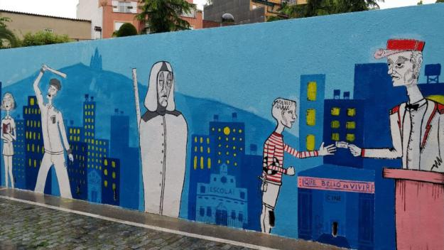 El Mural de Vida de la Llar d'Avis de la Parròquia estreny llaços entre grans i menuts