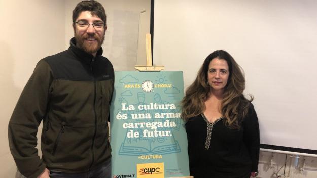 Oriol Sànchez i Lourdes Llorente de la CUP-PC / Foto: Cugat Mèdia