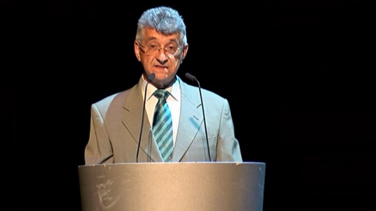 El president de l'AEU, Llibori Casadellà, durant l'acte de cloenda / Foto: Cugat Mèdia