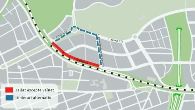 Mapa del tall de trànsit al carrer Vallseca / Foto: Ajuntament