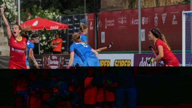 La selecció sub 21, amb Clara Pérez i Laia Vidosa, a l'Europeu de València / Font: Rfeh.es