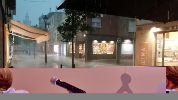Un moment de la tempesta al centre de la ciutat / Foto: Cugat Mèdia