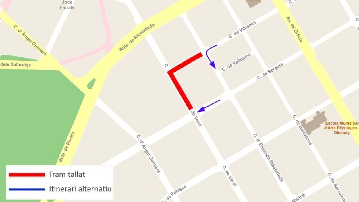 Tall de trànsit aquest diumenge als carrers Verdi i Vilaseca pel desmuntatge d'una grua