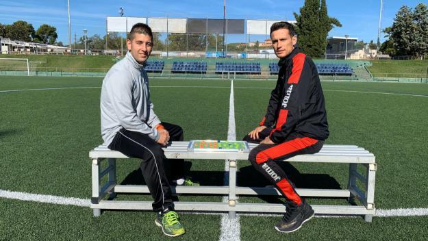 El tècnic del Junior, Alberto Morales, i el segon tècnic del SantCu, Nelson Ocampo / Font: Cugat Mèdia