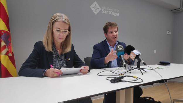 Mireia Ingla i Pere Soler durant la roda de premsa / Foto: Cugat Mèdia