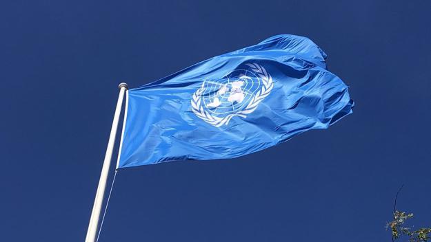 Imatge de la bandera a la plaça de la Vila / Foto: Cugat Mèdia