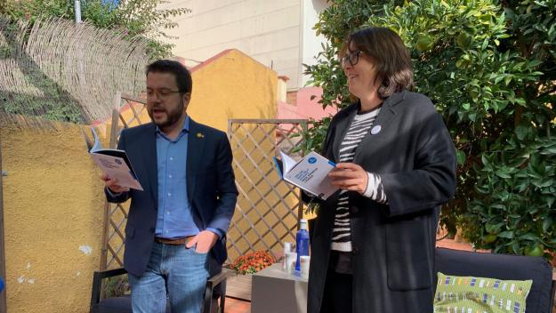 Diana Riba i Pere Aragonès han presentat el nou llibre de Raül Romeva, 'Des del banc dels acusats' / Foto: Cugat Mèdia