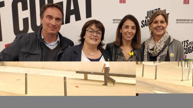 David Miralles, Mertixell Lluís, Meritxell Budó i Carmela Fortuny durant l'acte de campanya / Foto: Cugat Mèdia