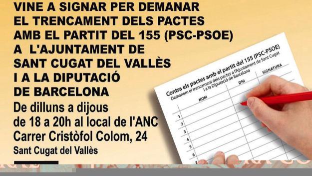L'ANC de Sant Cugat vol recollir un miler de signatures / Foto: ANC