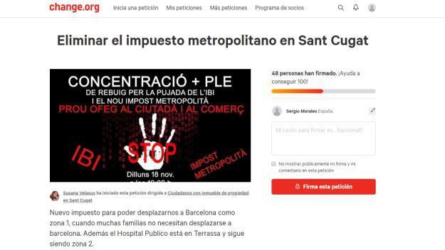 Pàgina de Change.org amb la petició / Foto: Captura de pantalla
